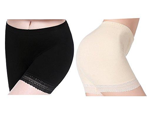 CnlanRow Damen Hose Unterrock Shorts Leggings Kurz Spitze - Herbst Elastisch Yogahosen (Shorts Damen Culotte)