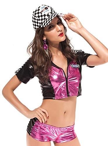 Kostüm Racer Mädchen - Damen Rosa Sexy Speed Queen Racer Rennsport F1 Mädchen Sport Kostüm Kleid Outfit - Rosa, 10-12