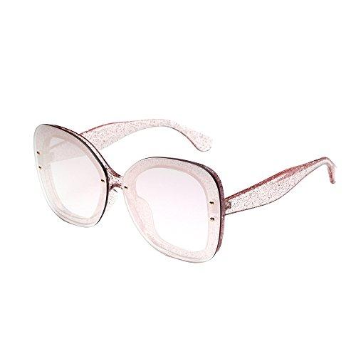 Oyedens Mode Herren und Damen große Box Glitter Sonnenbrillen - Fashion Neutral Large Frame Side Shades Sonnenbrille Integrierte UV-Brille