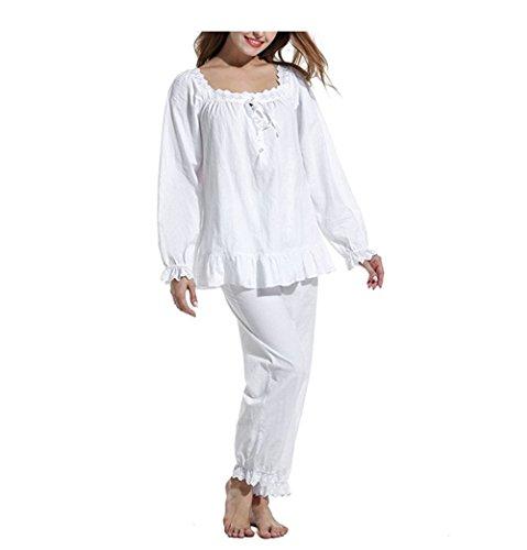 MaxxCloud Damen-Pyjama-Set, langärmelig, Baumwolle, viktorianisches Design, Weiß, 2 Stück - Weiß - Medium - Baumwolle Zwei Stück Pyjama Set