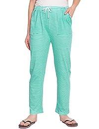 628a6afa0b FflirtyGo Pyjamas for Women, Night Dress, Lounge Wear, Green and White  Striped Cotton