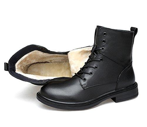 Qxw runden Kopf mit flachem Boden Armband Farbe Leder Herren Stiefel, Schwarz verdicken, 42