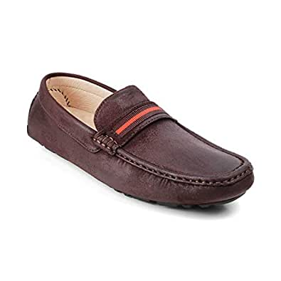 tresmode Mens Brown Casual Driving Loafer Shoes