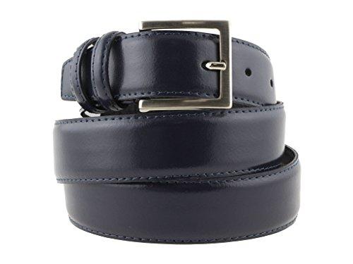 Cintura in pelle di vitello blu semi lucida da uomo per cerimonie elegante artigianale made in Italy (120 cm (50/52 - 52/54 EU))