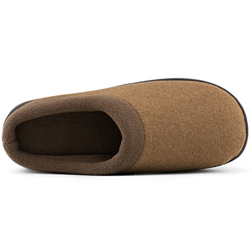 Hometop da uomo di lana tessuto Memory foam antiscivolo pantofole, con tripla Addensato suola Marrone chiaro