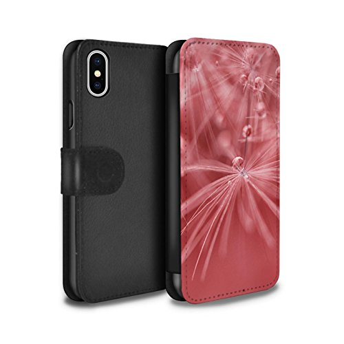 Stuff4 Coque/Etui/Housse Cuir PU Case/Cover pour Apple iPhone X/10 / Fleur Rouge Design / Gouttes de Fées Collection Fleur Rouge