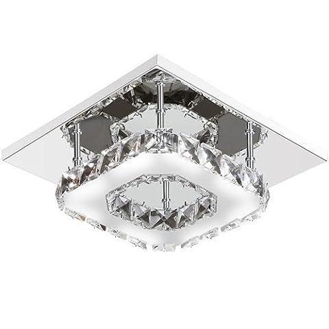 Goeco Crystal Lumière de montage encastrée Acier inoxydable Lustre de cristal moderne pour Hallway, Escalier, Chambre à coucher, Salle à
