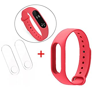 ANGGO Original Xiaomi Mi Band 2 Ersatzarmband Silikon Ersatz Armband Bracelet Ersatzband, with 2 Pcs Set for Xiaomi Mi Band 2 Ultrathin Anti-Explosion Screen Protector Film (Rosa)