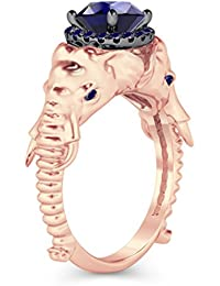 Silvernshine Halo Round Cut Simulated Blue Sapphire CZ Diamond 14K Rose Gold Plated Elephant Ring