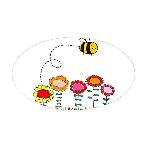 Press Cafe Duschvorhänge, (CafePress–Bee Buzzing Flower Garden Duschvorhang weiß–oval Bumper Sticker KFZ Aufkleber, weiß, Large - 4.5x7.5)