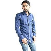 linenaffairs Men's Cotton Casual Shirt for Men Full Sleeves (M_Solid Dark Blue)