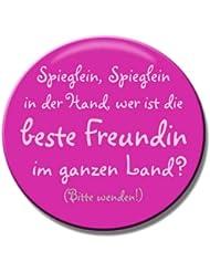 Polarkind Freundin Kleiner Schminkspiegel Handspiegel Taschenspiegel für Handtasche Reise pink rund 59 mm