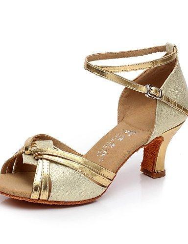 ShangYi Chaussures de danse ( Marron / Argent / Or ) - Non Personnalisables - Talon Bobine - Satin / Flocage - Latine / Salsa Silver