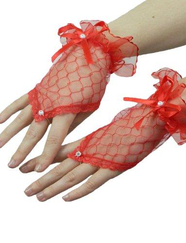 Yummy Bee Kurze Fingerlose Handschuhe mit Spitze Karneval Fasching Kostüm Hochzeit Abend Damen (Rot)