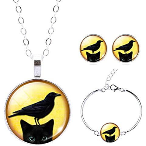 Jiayiqi Negro Gato Animal Tema Cristal Cabujón Collar Pulsera Joyas Conjunto Para Mujeres