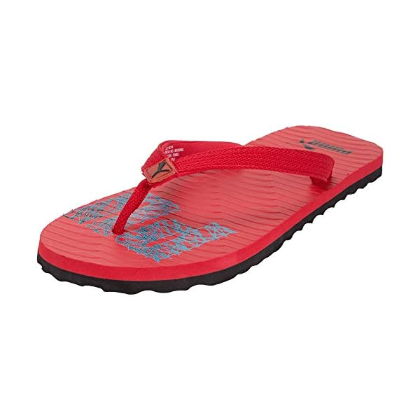 Puma-Miami-high-Risk-Red-with-Black-and-Atomic-Blue-flipflops