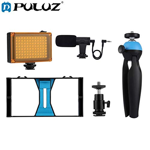 Hermosairis PULUZ 4 in 1 Live-Sendung LED Selfie Licht Smartphone Video Rig Kits mit Mikrofon Stativ Mount Cold Shoe Stativkopf