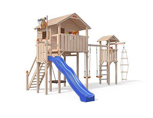 ISIDOR Domizilio Spielturm mit Turm Schaukelanbau, inkl. Sicherheitstreppe, XXL Rutsche, Balkon und Nestschaukel auf bis zu 2,00m Podesthöhe (Blau) Tür Jungle Gym
