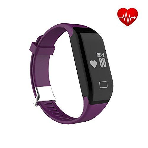 Herzfrequenz Monitor Fitnessarmband Bluetooth Fitness Tracker Smartwatch Armband MAXAH Smart Bracelet für Android Smartphone und iPhone,mit Schrittzähler Kalorienzähler Schlaftracker und Anrufer Benachrichtigung (Lila)
