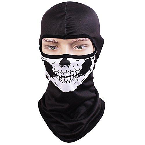 Tclian maschera con teschio, passamontagna, bandana con scheletro/fantasma da motociclismo, passamontagna intero, maschera di protezione contro i raggi uv ad asciugatura rapida, traspirante, maschera tattica, militare, per softair, paintball, halloween, skull-01