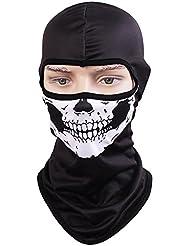 tclian máscara de calavera pasamontañas Rib tejidos esqueleto fantasma Headwear Bandana motocicleta ciclismo esquí máscaras faciales completas Militar Táctico para Airsoft y Paintball máscaras máscara de disfraz de cosplay para Halloween - HeadgearF1, Skull-01
