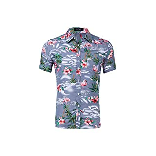 Feicuan Herren Hawaiihemd Hawaiian Kurzarm Ananas Flamingo Blume Druck Hemd Casual Party Urlaub Sommer Hemden Fancy Aloha Shirt Button Tops