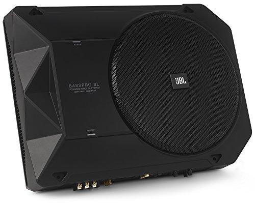 "JBL Basspro SL 200mm (8\"") Kompaktes Kraftvolles Aktives Stereo Subwoofer-System für Autoradios, Passt unter den Vordersitz - Schwarz"