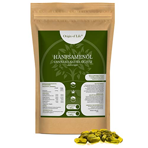 Hanföl 250 Softgel-Kapseln - hochdosiert mit 2000 mg Tagesportion - kaltgepresst & naturbelassen | pflanzliche Omega 3 6-9 | Premium Cannabis Sativa | Großpackung XL - Made in Germany