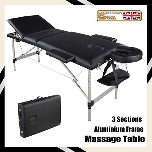 YouYou-YC Folding Massagetisch Tragbare Massage Nachttisch - 3-Section Aluminium Faltbare Schönheits-Couch for Reiki Therapie Behandlung Salon Heilung, Leichte 15kgs, 230Kgs Ladekapazität (Schwarz) -