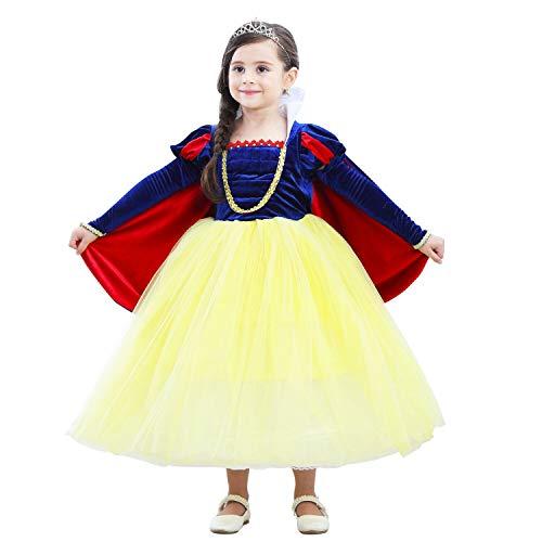 NNDOLL Carnevale Costume Regina delle Nevi Biancaneve Vestito Bimba  Travestimento 806 (130) 05422c204fd5