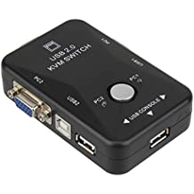 BQLZR negro USB 2.0KVM 2puertos VGA Teclado Ratón caja de interruptor Monitor Vídeo SVGA VGA