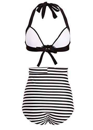Gestreifter Damen Retro PinUp Vintage Bikini mit hoher Taille und schwarzem Oberteil (2-tlg. Set) Schwarz