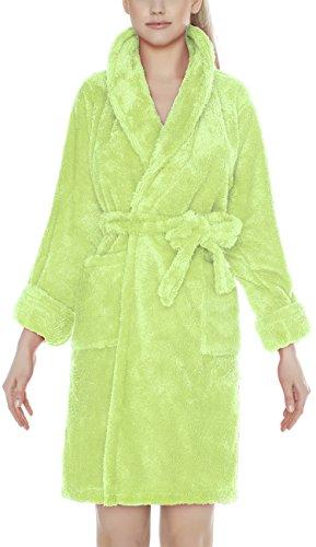 m.Lyra Damen Nachtwäsche Bademantel mit Schalkragen MARIE Kurz Übergrößen (3XL �?10XL) Grün