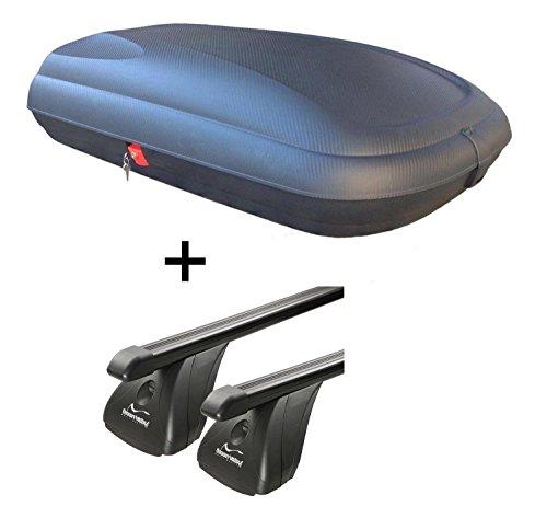 Dachbox VDPBA320 320Ltr carbonlook abschließbar + Stahl Dachträger Aurilis Original für Opel Corsa C (3-5Türer) 2000-2006