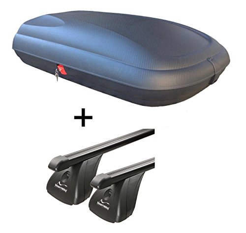 Dachbox VDPBA320 320Ltr carbonlook abschließbar + Stahl Dachträger Aurilis Original für Hyundai ix35 (5Türer) 2010-2015