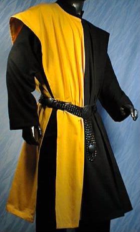 Kostüm Gewand Ritter Muster - WAFFENROCK TUNIKA RITTER RITTERKAMPF BAUMWOLLE LEINEN 1490 gelb - schwarz