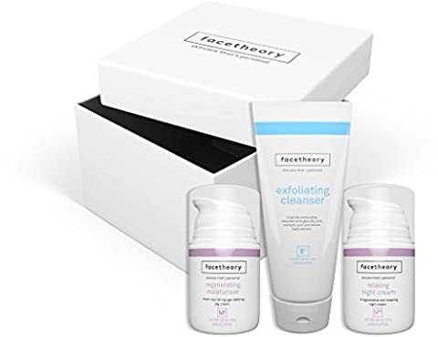 Facetheory Skincare Gift Box. 1 x Glycolic Cleanser, 1 x Day Cream, 1 x Night Cream, 1 x Exfoliating Muslin Cloth. A Perfect Gift for Men and Women.