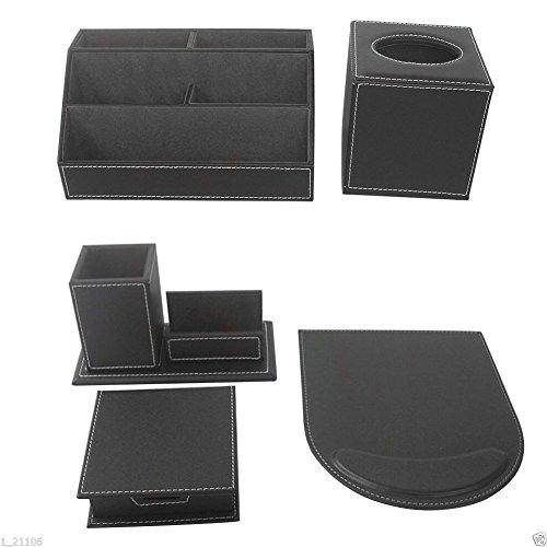 KINGFOM 5pcs Leder büro Schreibtisch Set -- Inklusive Schreibtisch Organisator, Kosmetiktücherbox, Mauspad, Stifthalter mit Visitenkartenhalter und Zettelbox (T50-5-Schwarz) -