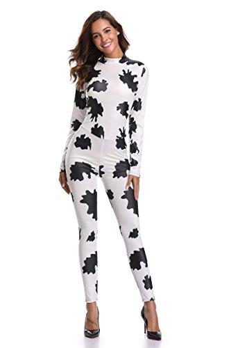 DuuoZy Frauen sexy High elastische Kühe Muster Print Overall Animal Cosplay Tight Siam Kostüm, schwarz und weiß