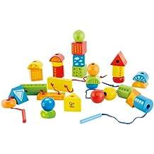 Fädelspiel Anziehbären für Kinder Spielzeug aus Holz Feinmotorik ab 3 Jahre Motorikspielzeug