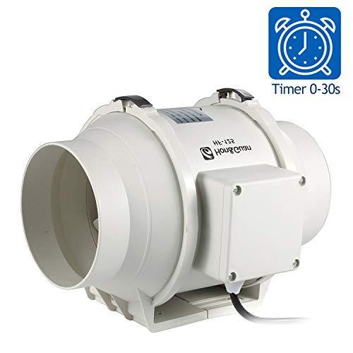 Hon&Guan 125mm Rohrventilator Mischdurchfluss Rohrlüfter mit Timer 167CFM Starker Abluft System Badlüfter für Büro , Bad , Halle , Hydroponic Zimmer (ø125mm mit timer) -