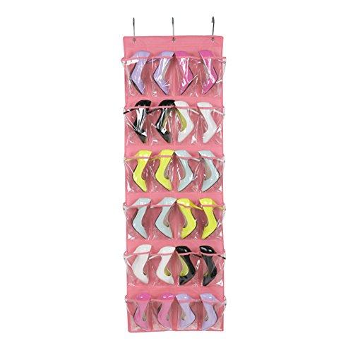 Missofsweet - portascarpe da porta con 24 tasche, borse, pieghevole sulla parete - scarpiera organizzatore armadio/giocattoli - borsa porta oggetti - bianco pink