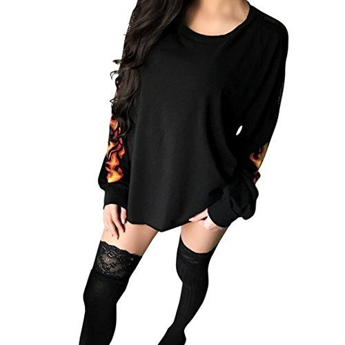 Damen Pullover, Huihong Womens Spitze Flamme Druck ÄRmel Sweatshirt Pullover Tops ZurüCk Durchschauen Bluse Sport Shirt MäDchen Mode T-Shirt (Schwarz, S) (Stretch-baumwolle Sleepshirt)