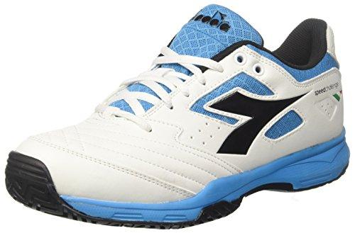 Diadora S.Challenge 2 AG Scarpe da Tennis Uomo, (Bianco Nero Blu Fluo), 42 EU