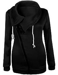 Tongshi Invierno de las mujeres de la blusa de la cremallera con capucha sudadera con capucha capa de la chaqueta