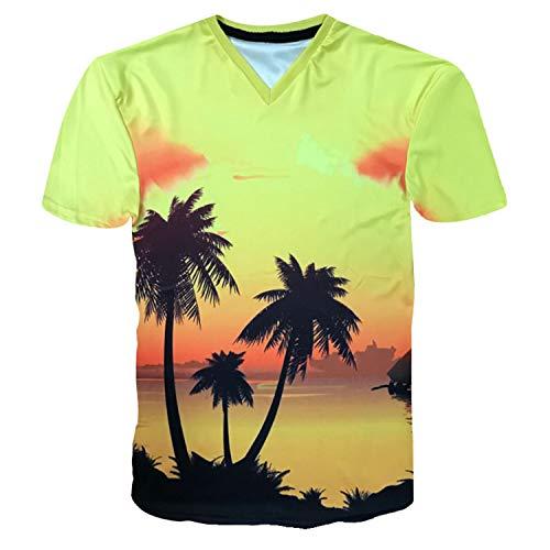 CYYCY T-Shirt Unisex da Uomo Estiva Stampata a Maniche Corte da Uomo Estiva 3D,T-Shirt a Maniche Corte Coco Hawaiano 3D Scollo a V Colore 3 L