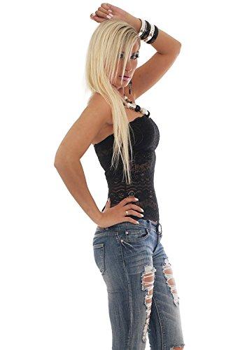 Fashion4Young 10079–top bandeau sans bretelles pour femme à pointe design noir-disponible en 2 tailles Noir - Noir