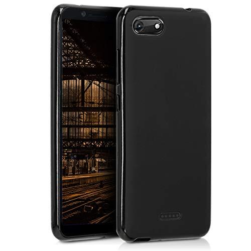 kwmobile Funda para Wiko Harry 2 - Carcasa para móvil en [TPU Silicona] - Protector [Trasero] en [Negro Mate]