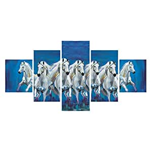 eCraftIndia 'Running Lucky Horses' Painting (Canvas Print, 127 cm x 60.96 cm, Blue and White, Set of 5)