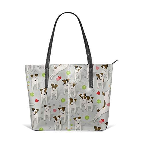 Frauen weiches Leder Tote Umhängetasche Parson Jack Russells Hunde mit Herz Mode Handtaschen Satchel Geldbörse -